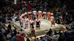 相撲の土俵入りです