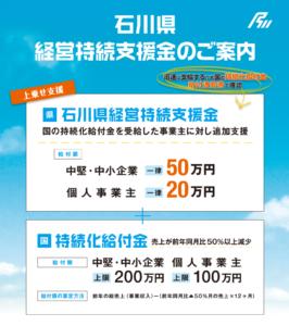 石川県経営継続支援金の申請サイト