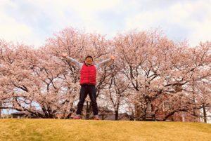 桜の木の下でばんざーい!