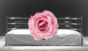 プロレスのリングと花です