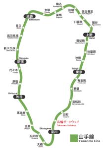 山手線の路線図です。