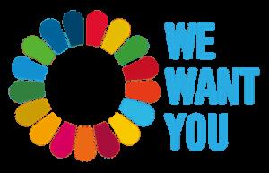 SDGsのロゴマークを花に見立てて、We want you と書いてあります。SDGsの専門家、SDGsのセミナー講師が得意な、行政書士(石川県)がご説明します!