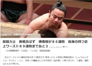 大相撲 勝南桜関 連敗