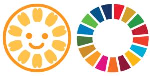 SDGsのロゴマークと、行政書士法人スマイルのロゴマーク。SDGsの専門家、SDGsのセミナー講師が得意な、行政書士(石川県)がご説明します!